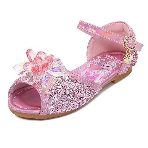 YOSICIL Niña Zapatos de Tacón Disfraz de Princesa con Lentejuelas Zapatillas de Baile con Arco Sandalias Tango Latino Zapatilla de Vestir para Cumpleaños Fiesta Carnaval 3-12 Años