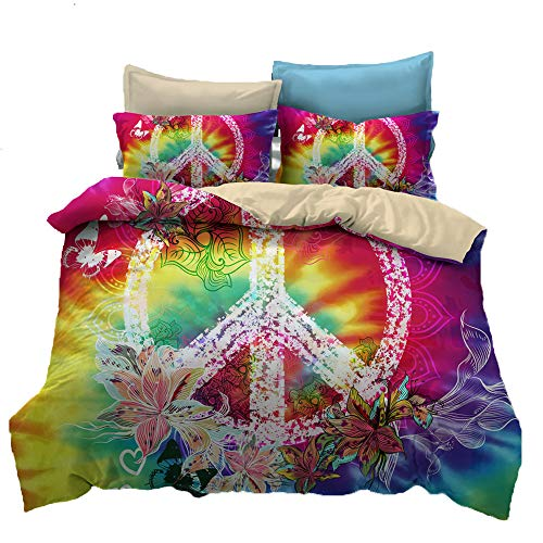 Suncloris,Hippie Psychedelic Tie-Dyed Backdrop Peace Sign,Bedding Boys Girls Watercolor Colorful Art Duvet Cover Set.Included:1 Duvet Cover,2 Pillowcase(no Comforter Inside) (Queen)