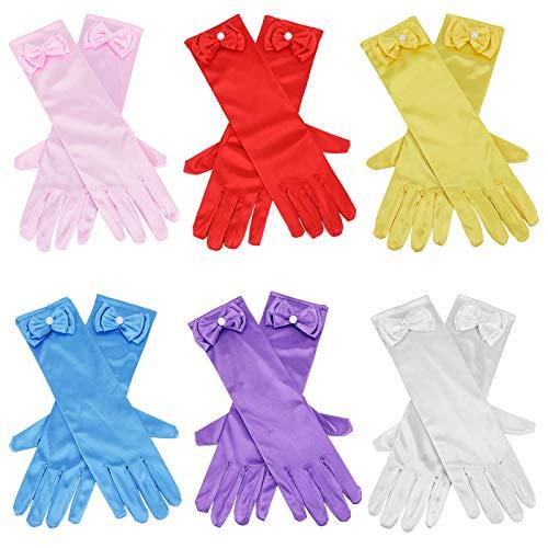 HIFOT Prinzessin Mädchen Satin Handschuhe mit Schleife 6 Paare, Handschuhe für Kinder Hochzeitskleid Fasching Halloween partyzubehör Kostüm kleid Accessoires 3-15 Jahre