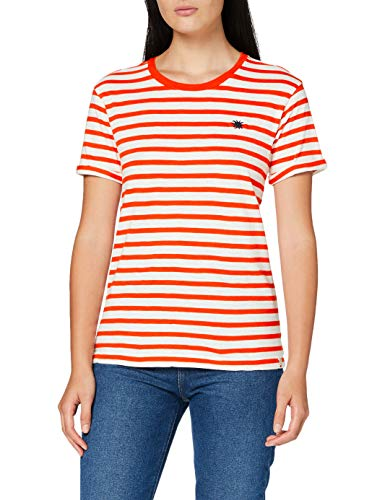 Scotch & Soda Maison Womens Organic Easy Stripe Tee with Chest Embroidery T-Shirt, Combo D-0220, M