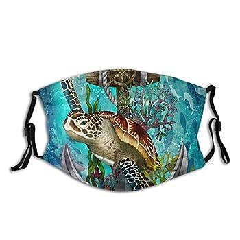 Sea Turtle Face Mask Fashion Balaclava,Washable Reusable Bandana With 2 Filter