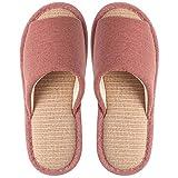 YANSHOU Resistente al Agua Interior Casa Slippers,Linen Sandals and Slippers, Cotton and Linen Home Indoor Non-Slip Wooden Floor Slippers-Red 1_37-38,Zapatillas de algodón Populares