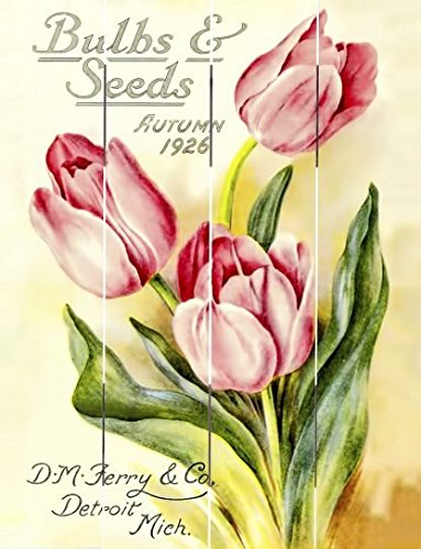 "Rustic Pallet Art Bulbs & Seeds Autumn 1926 - D.M Ferry & Co. Wooden Wall Hanging, 9""X12"" Decorative Plaque"