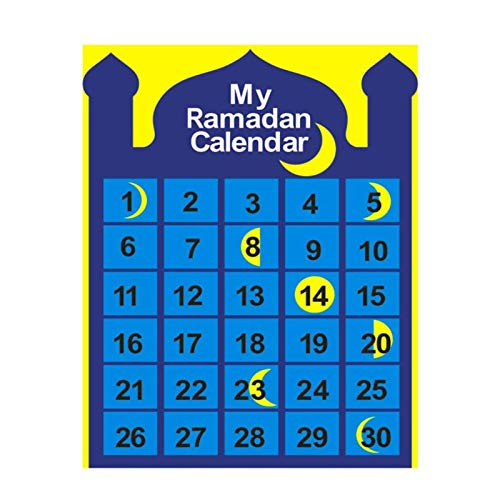 su-xuri Calendario De Cuenta Atrás De Eid Mubarak, Calendario De Ramadán, Material Cómodo, Calendario De Adviento Musulmán, Colgante De Regalo para Niños De Eid Al-Fitr (48x65cm)