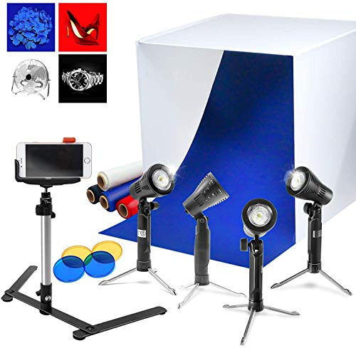 LimoStudio 24' Photo Box Tent, LED and Halogen Bulb Table Light Stand, Phone Holder, Backgrounds, Color Gel Filters for Photo Video Studio, AGG1071