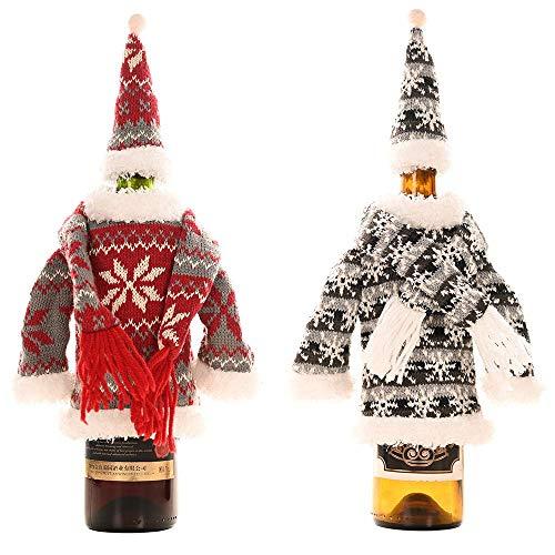 Weinflaschen-Set für Weihnachten, 2 Stück, Weinflaschendekoration, gestrickter Schal und Kapuzenkleidung, Weinflaschenabdeckung, verwendet für Weinflasche, Tisch, Geschenk Dekoration