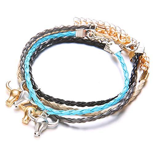 Juego de 4 pulseras de piel de cabeza de toro de múltiples capas para hombres y mujeres, coloridas pulseras de cadena de cuerda, joyería bohemia para fiesta, color: multicolor (color: multicolor)
