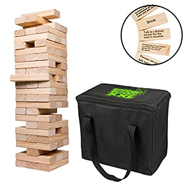 Extra Giant Stacking Tower Drinking Game (Stacks up to 5ft) - 60pcs Wooden Blocks with Drinking Commands (21+ only)
