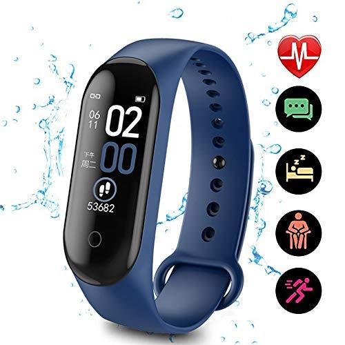 jianji Reloj inteligente resistente al agua de 0.96, rastreador de ejercicios, monitor de ritmo cardíaco, contador de calorías de entrenamiento, regalo para mujeres, hombres, niños