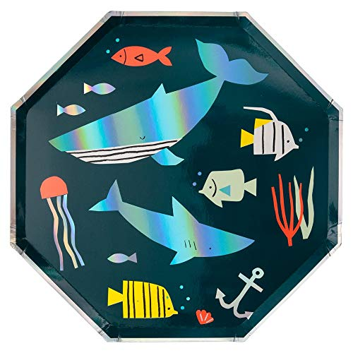 Meri Meri, Under The Sea Geometric Disposable Dinner Plates, Birthday Party Supplies - Pack of 8