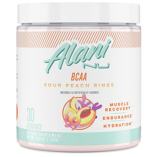 Alani Nu BCAA Branched Chain Essential Amino Acids, Muscle Recovery Vitamins for Post-Workout and Hydration, Sour Peach Rings, 30 Servings