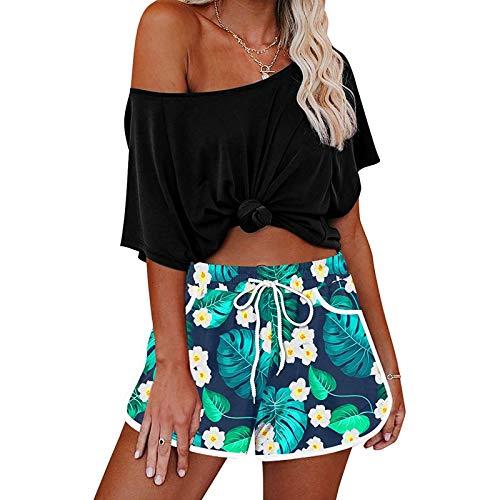Kais Für Mädchen und Frauen Sommer Floral Beach Boardshorts mit Taschen Einfach Badehose