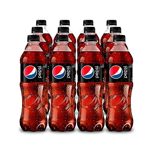 Pepsi Black Refresco Sabor Pepsi Black Sin Azúcar con Botellas de PET Reciclable, 1 Paquete de 12 Botellas de PET de 600 Ml, Cola sin azúcar, 7200 mililitros