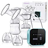 Gimars Fast Emptying Pain-Free Gentle Suction Double Electric Breast-Pumps with 4 Modes & 30 Levels, Portable Hands Free Pump Set Auto-Memory Function, Timer LCD Touch Panel