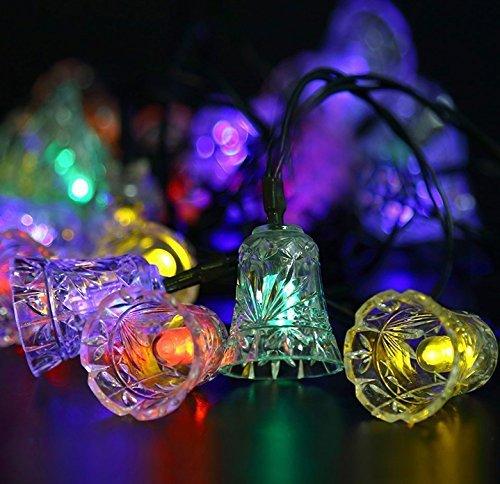 EONANT Bell Solar String Lights, Bell Fée Lumières 4.8 M 20 LED Cloche de Noël Solaire Lumières Étanche pour Jardin, Cour, Chemin, Clôture, Escaliers, Cour, Patio Décoratif (Multicolore)