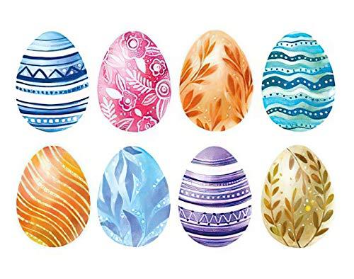 Y·JIANG Happy Easter Paint by Numbers - Pintura acrílica al óleo por números, diseño de huevos de acuarela, 40,6 x 50,8 cm