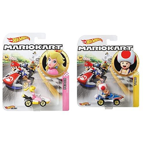 Hot Wheels Mario Kart Peach, Vehiculos, Coche De Juguete (Mattel Gbg28) , Color/Modelo Surtido + Mario Kart, Vehiculos, Toad, Coche De Juguete (Mattel Gbg30) , Color/Modelo Surtido