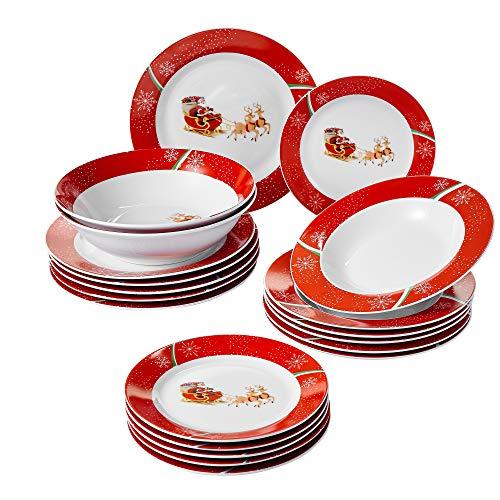 VEWEET, Serie Christmas Deer, Servicio de Cena, 20 Piezas, para 6 Personas, 6 Platos, 6 Platos, 6 Platos de Postre, 2 ensaladeras, Porcelana