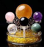 Decoraciones para el hogar Feng Shui Seven Star Array Bola de Cristal Natural de Siete Colores + Decoración de Base de Tablero