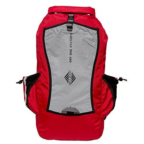 Aqua Quest SPORT 25 Zaino Impermeabile Rosso e Riflettente 25L per il Trekking, Campeggio, Caccia, Bushcraft, Pesca
