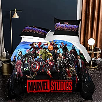 Avengers Queen Comforter Sets Superhero Iron Man Hulk Spiderman Iron Man Captain America Quilted Bedding Set for Kids Boys,1 Comforter +2 Pillowcases