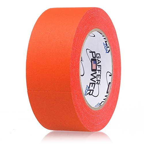 Real Professional Grade Gaffer Tape by Gaffer Power - Made in The USA - Orange Fluorescent 2 in X 30 Yds Floor Markings & Social DISTANCING Lines. Heavy Duty Gaffers Tape - Non-Reflective