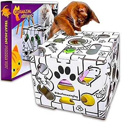 Cat Amazing Sliders – Interactive Treat Puzzle Cat Toy – Active Food Puzzle Feeder