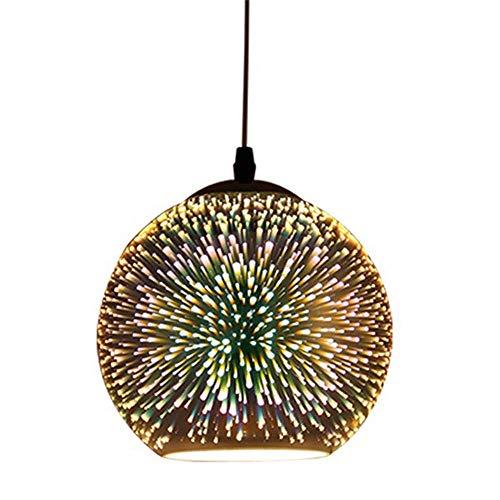 WYFX Easy fit Glass Pen Shop Restaurant Hanging Light 3D Colourful Fireworks Light Fitting Modern Multicolor Lights Lamp Shade Round Plug inr Lampshade Adjustable Hangin
