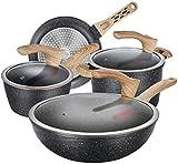 Batería de cocina y Set sartenes Juego de ollas sin pegamento Cocina de cocina de cuatro piezas Cocina de inducción de combinación y utensilios de cocina Utensilios de cocina Conjunto de utensilios de