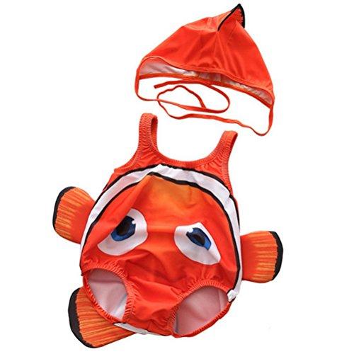 ARAUS Costume da Bagno da Bimbo Infantile Stile Pesce Pagliaccio per Nuotare con Cappuccio 2 Pezzi