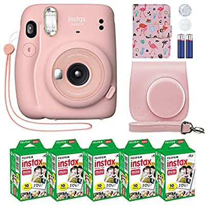 Fujifilm Instax Mini 11 Instant Camera Blush Pink + Custom Case + Fuji Instax Film Value Pack (50 Sheets) Flamingo Designer Photo Album for Fuji instax Mini 11 Photos by FUJIFILM