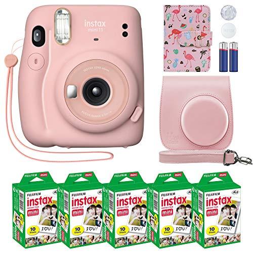 Fujifilm Instax Mini 11 Instant Camera Blush Pink + Custom Case + Fuji Instax Film Value Pack (50 Sheets) Flamingo Designer Photo Album for Fuji instax Mini 11 Photos
