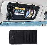 9つのCDスロット+ 4クレジットカードポケット付きカーCDサンバイザー主催、車のポータブル取り外し可能な多機能PUレザー収納ボックス、+ 1つのサングラスホルダー+ 1ペンホルダー、カーアクセサリー,黒
