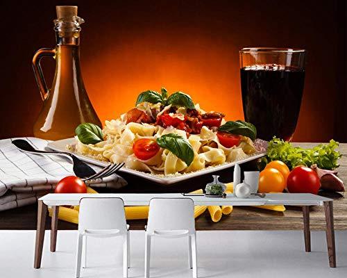 YSJHPC Personalizado 3D Mural Restaurante beber vegetales highball taza pasta comida Papel pintado Auto-adhesivo PVC A casa Decoración Para Zona de Dormitorio Papel pintado La habita(W) 430x (H) 300CM