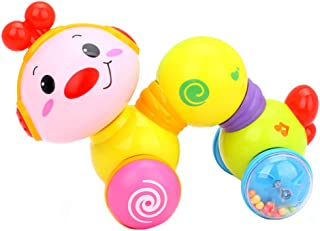 tenyears Cute Creeping Worm Baby Toys Press and Crawl Inchworm Musical Toy Early Education Toy with Smiling Face Sweet Music and Pretty Lights for Toddler Kids 6 Month + (Batteries Included)