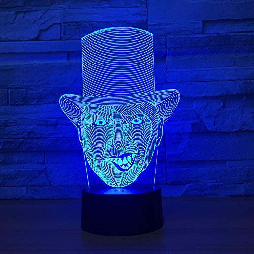 3D Illusion Night Lamp The Clown Table Lamp Handmade Wooden LED Light With Illusion Lamp Col