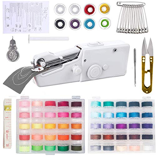Acmerota Máquina de coser de mano, máquina de coser de mano MiNi, herramienta eléctrica de mano inalámbrica para el hogar con 50 líneas de color para tela, ropa, tela de bricolaje