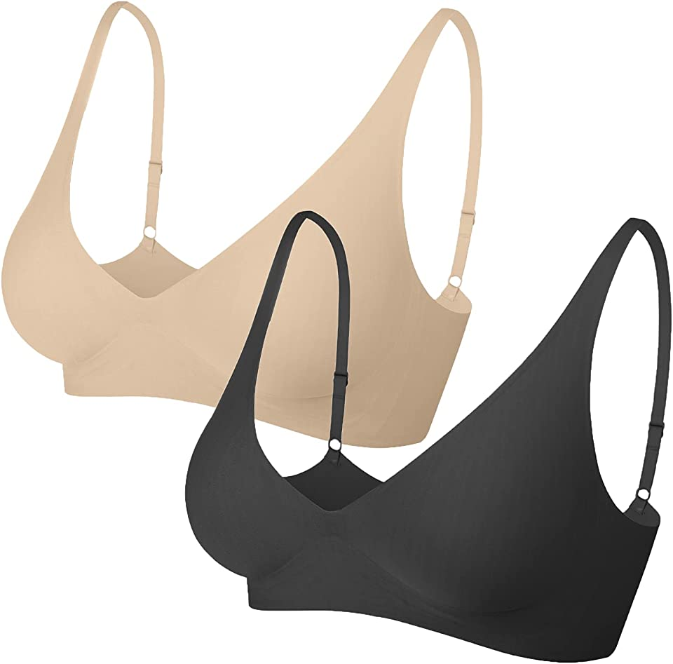 Women's Non-Wire Daily Bra with Removable Pads Invisible Seamless Wirefree Yoga Bras Soft Comfy Sleep Leisure Bralette for Ladies