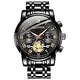 SUNVEN - Reloj de Pulsera para Hombre, Resistente al Agua, Cuarzo, Esfera de Zafiro, Acero Inoxidable Dorado, Pantalla multifunción, diseño Luminoso de Manos 2019 (Negro)