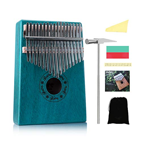 Kalimba thumb piano 17 key pocket piano Portable Mbira Sanza African finger piano with Hammer for beginners kids Adult Gift christmas present (Green)