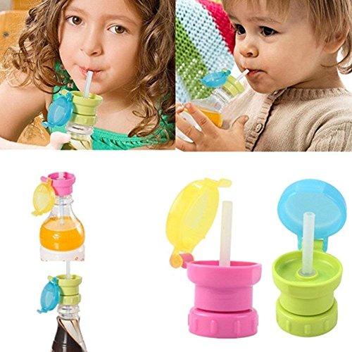 Uteruik - Tapa para Botella de Agua con Pajita para Bebidas, Tapa de alimentación para niños, 1 unids (color al azar)
