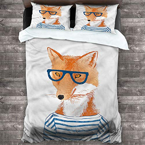 Duvet Cover Set Modern,Hipster Fox with Glasses 1Comforter Cover and 2 Pillow Shams Solid Soft and Breathable, Cal King 68'x90'