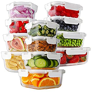 Bayco 24 Piece Glass Food Storage Containers with Lids Glass Meal Prep Containers Airtight Glass Lunch Bento Boxes BPA Free & Leak Proof  12 lids & 12 Containers  - White