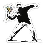 Banksy Rage Flower Thrower Diseño | Art Pared Graffiti vinilo | Urban tipo ventana pegatinas auto, Laptop, Large - 20x18cm
