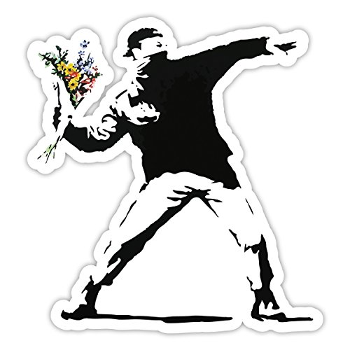 BANKSY Rage Lanceur de fleurs Design | Décoration murale graffiti Autocollant en vinyle | Urban Art fenêtre, voiture, ordinateur portable Autocollant - Medium - 10x9cm