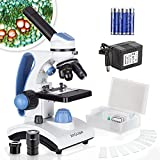 AmScope M162C-2L-PB10 Microscopio escolar de metal con lente de cristal y 2 luces,40x - 1000x