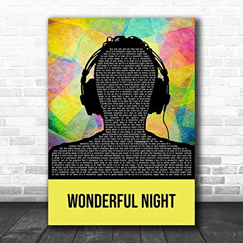 Fatboy Slim Wonderful Night Multicolour Man Headphones Song Lyric Print Print Wall Decor Art Gifts Lovers Poster