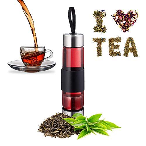 Relaxdays Teeflasche mit Sieb, Wasser, Tee, Smoothies, tragbare Trinkflasche, Glas, Edelstahl, 450 ml, silber/ schwarz