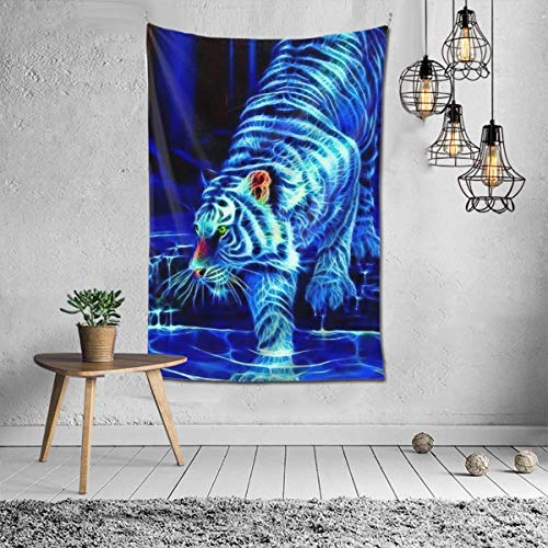 Lawenp Tiger Stripe Auburn Blue Cool Tail Tapestries for Dorm Living Room Bedroom TV Backdrop Table Cloth Wall Blanket Beach Towels Profession Home Decor 60X40 Pattern Inches