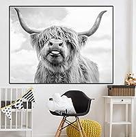 黒と白のハイランド牛アート北欧絵画ポスターホームアート装飾-60x90cm_No_Frame